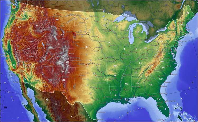 Топографическая карта США