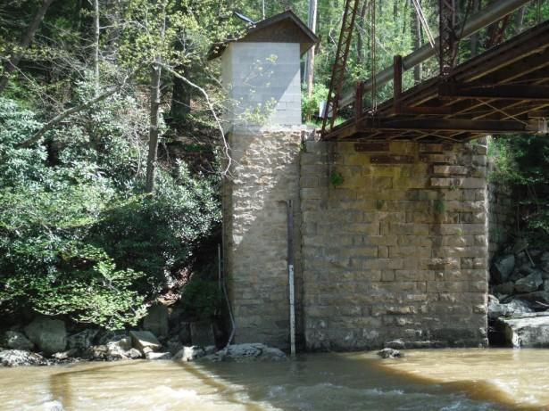 Линейка для измерения уровня воды в реке